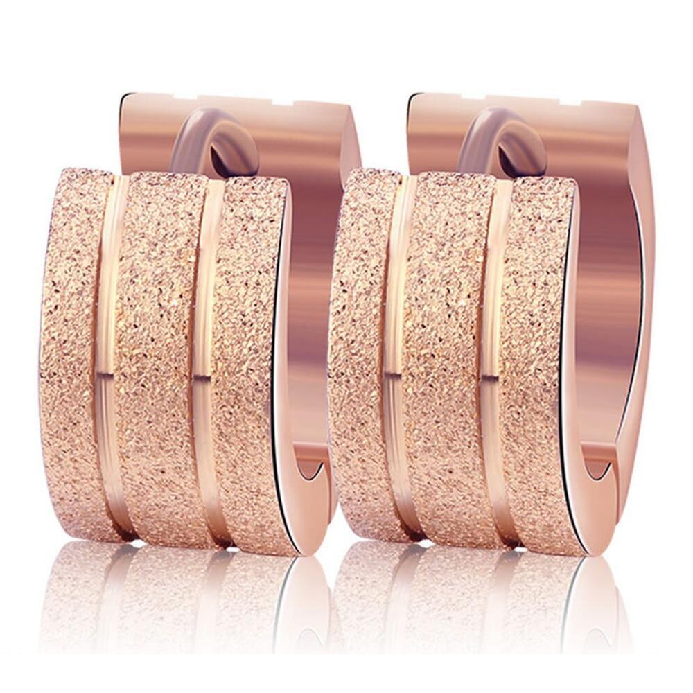 Wholesale Three colors Stainless Steel Stud Earrings Women Frosting Jewelry Earrings for Women Men Brincos