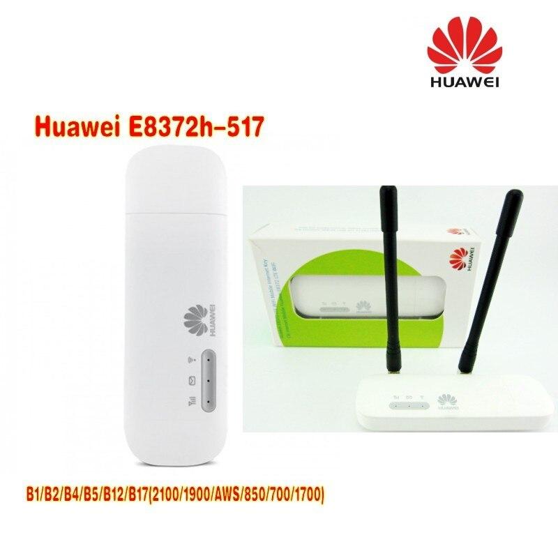 Unlocked Huawei E8372 150Mbps Modem E8372h-517 4G Wifi router 4G LTE Wifi Modem plus 2pcs antenna lot of 2pcs huawei e8372h 517 lte wifi stick plus 2pcs antenna