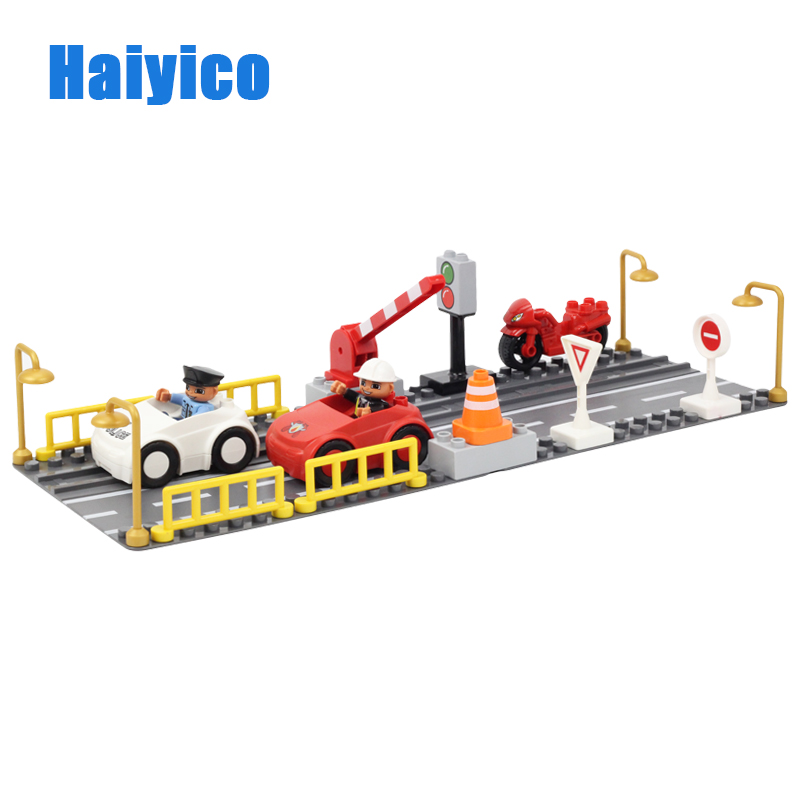 Haiyico Big Dots Bricks set City Highway City Traffic Traffic Light Scenes Track Base Plate Motorcycle Car Blocks Baseplate Toys