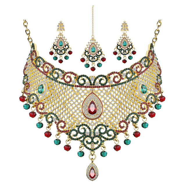 JUST FEEL Trendy Rhinestone India Kundan Crystal Jewelry Set For Women Luxury Du