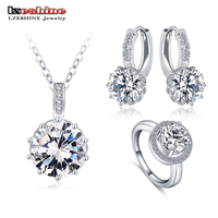 LZESHINE 2016 Top Sale Luxury Classical Women Jewelry Set Designer Round Necklace Earring Ring Set Parure