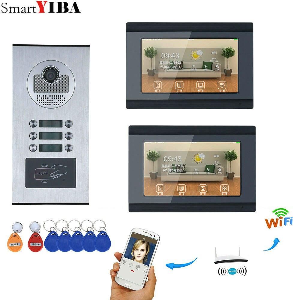 2 единицы квартира 7 дюймов мониторы Wi Fi Беспроводной видео телефон двери дверные звонки домофон записывающая видеокамера Поддержка 8 мобил