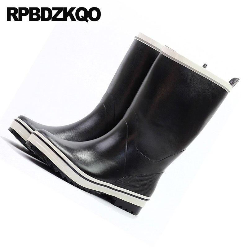 d3c98d18349 Co Sapatos Inverno Topo Cair Tamanho Bezerro Borracha Chuva D água Pvc  Masculino Botas Em De ...