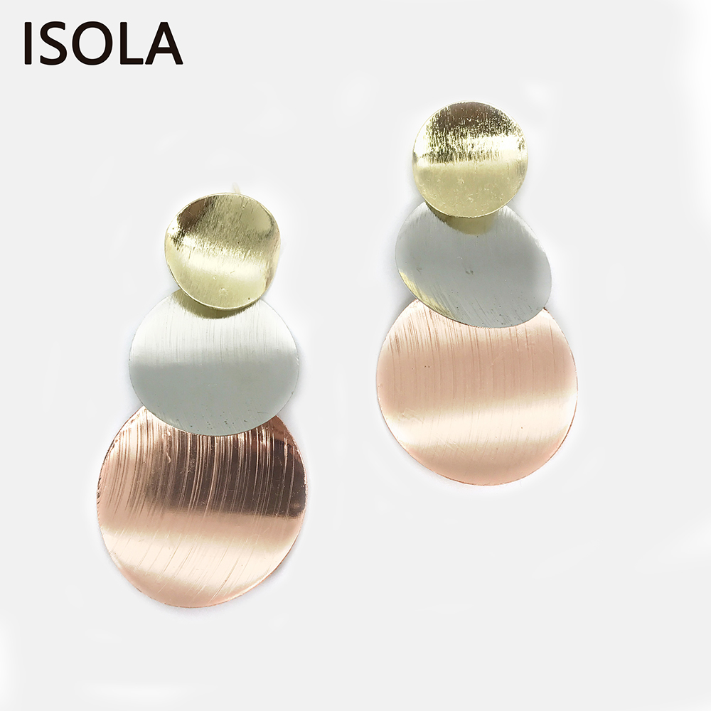 ISOLA Brushed Minimalist Tiered Earrings Attractive Round Shape Three Color Drop Earrings Simple Statement Stacked Earring