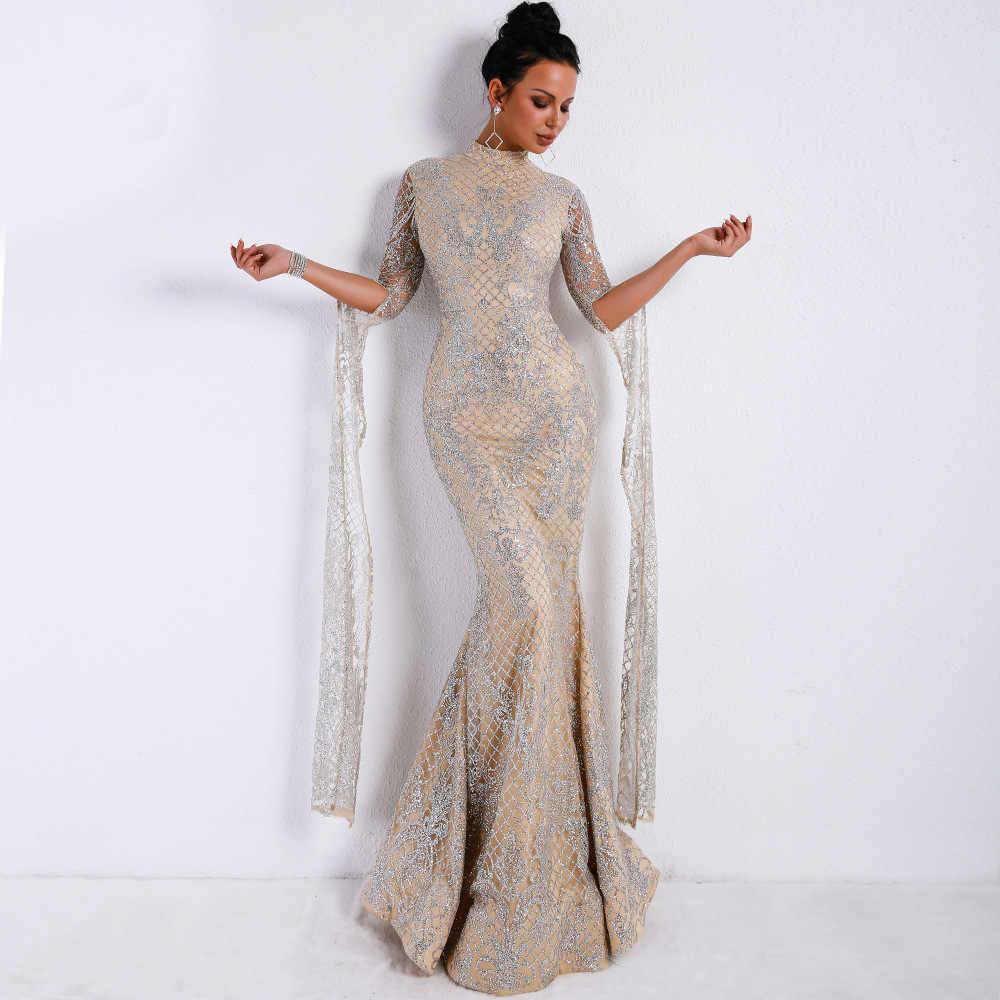 ... weiyin Saudi Arabic Silver Sequined Mermaid Evening Dress Long Sleeves  High Neck Dubai Kaftan Prom Dresses ... 6fa009f5b698