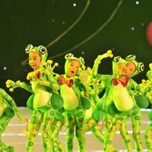 Детские костюмы с изображением маленькой лягушки и пения; одежда для выступлений с героями мультфильмов; Одежда для танцев с изображением счастливой маленькой лягушки