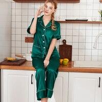 SSH0320 2019 New Pajamas for Women Satin Silk Sleep Lounge Ladies 2pcs Pajama Set Women Short Sleeve Long Pant Pyjama Set Pajama