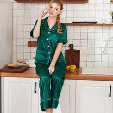 SSH0320 2019 New Pajamas for Women Satin Silk Sleep Lounge L