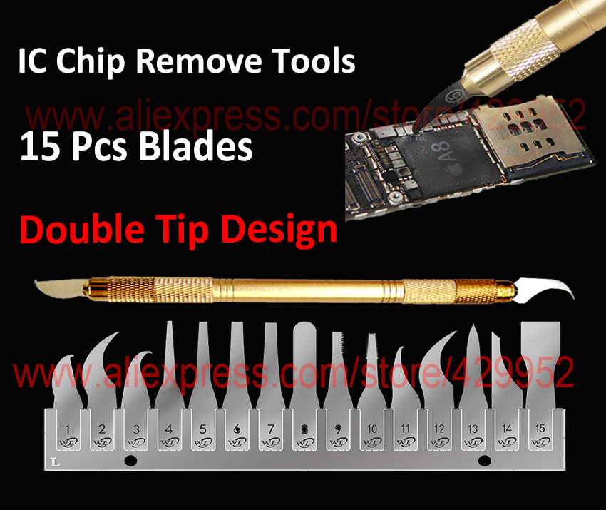 цена на Free Shipping 15 in 1 IC Chip Repair Thin Blade Tool CPU Remover Burin To Remove iPhone Processors NAND Flash Mainboard For BGA
