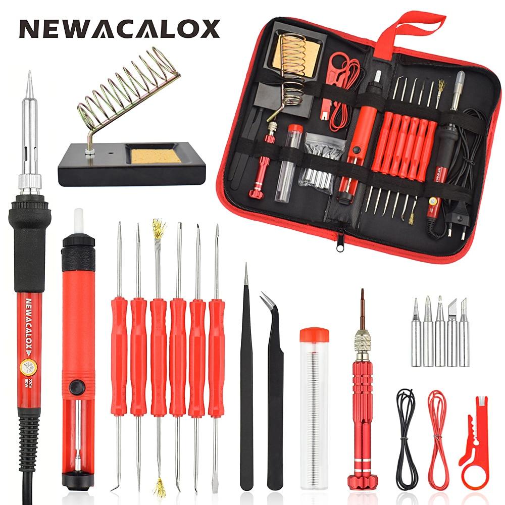 NEWACALOX 60W EU/US Multifunctional Electric Soldering Iron Kit Screwdriver Desoldering Pump Tip Wire Pliers+Tool Bag 26PCS/SET