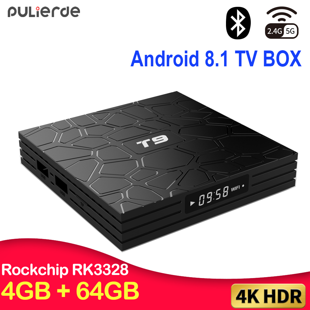 PULIERDE T9 4 GB 32 GB RK3328 Quad Core Android 8.1 TV BOX Bluetooth4.0 H2.65 4 K télévision intelligente 2.4 GHz WIFI Set-top box lecteur multimédia