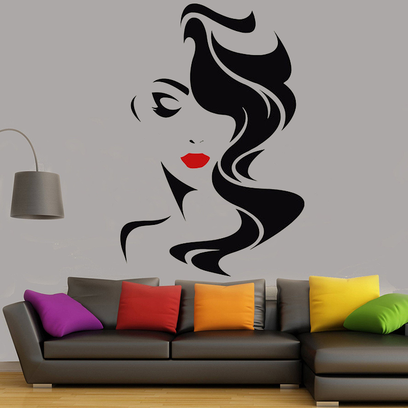 Grooming Salon Wall Decal Beauty Salon For Lady's Red Lips Vinyl Sticker Home Decor Beauty and hairdressing Window Decal <font><b>G731</b></font> image