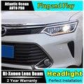 Car Styling LED Lámpara De Cabeza para Toyota Camry Faros Camry Nuevo V55 led faro 2014-2015 drl led H7 hid Bi-Xenon Lente de baja haz