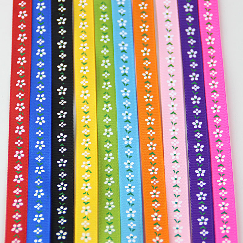 MIX 10 Colors In stock 3/8 10mm Printed Flowers Grosgrain Ribbon 10 Yards Sale hair accessories diy handmade ribbon