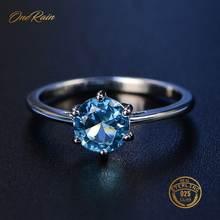 Женское кольцо из серебра 100% пробы с круглым камнем 7 мм