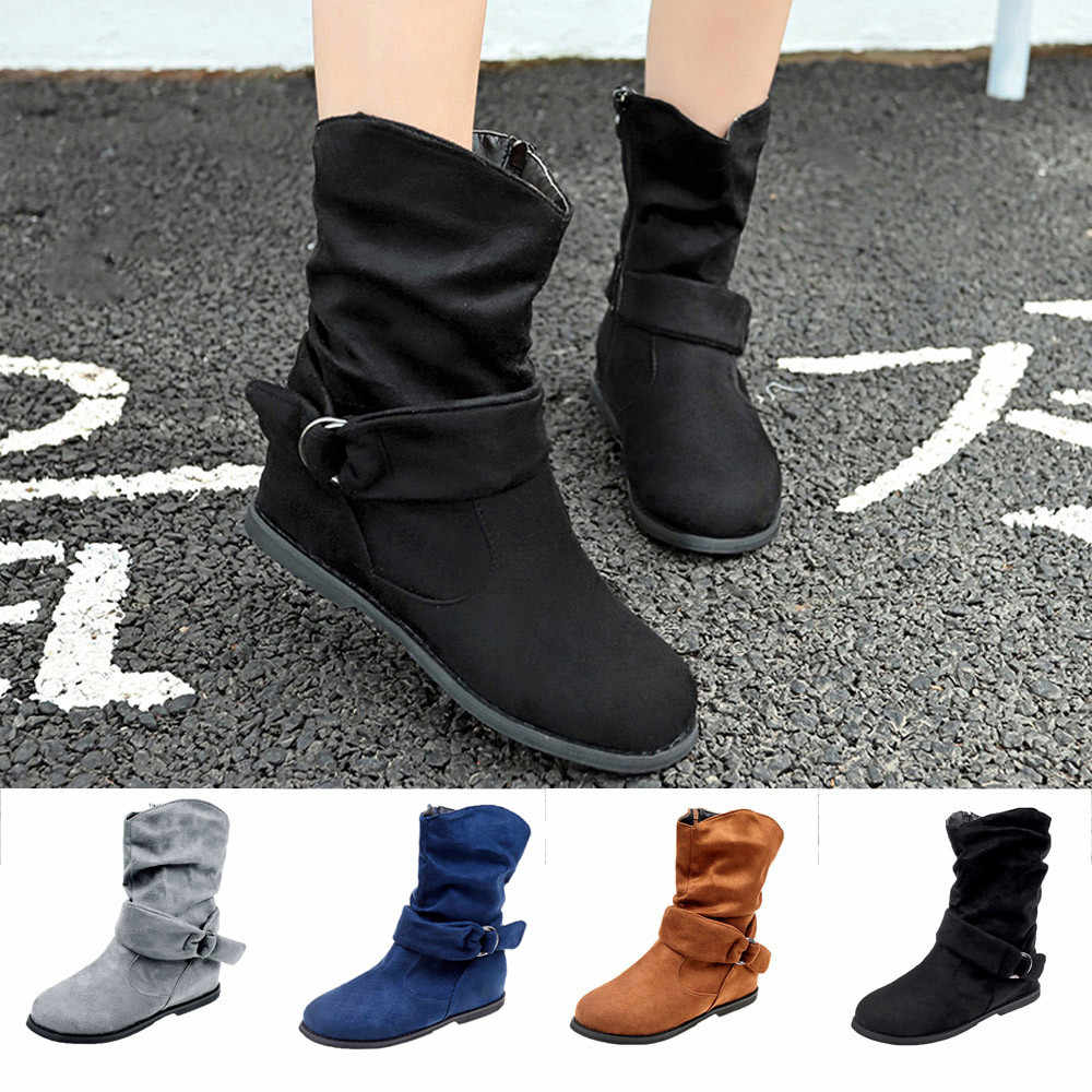 SAGACE kadın orta çizmeler Büyük Boy Fermuar Ayakkabı Vintage Stil Kadın Düz Patik yumuşak ayakkabı Seti Ayak yarım çizmeler no6