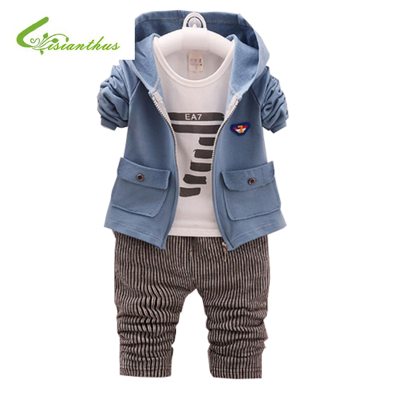 New Fashion Children Boys Clothing Sets Spring Autumn 3 Piece Suit Hooded Coat Clothes Baby Cotton Brand Tracksuits 4 Color