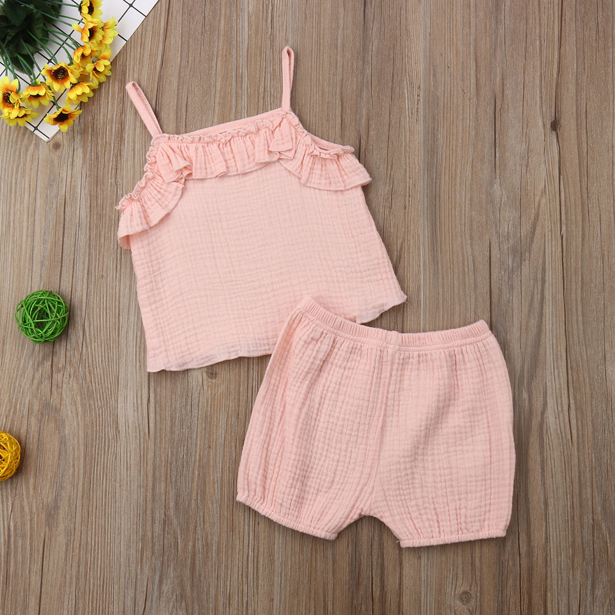Cute Infant Toddler Baby Girl Clothes Set Solid Summer T shirt Shorts Outfits Toddler Kids Girl Clothes Sunsuit 0 3T in Clothing Sets from Mother Kids