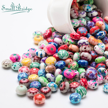 12mm Round Flower Fimo Beads For Jewelry Making Women Handmade DIY Accessories Perles Mix Color Loose Polymer Bead Wholesale