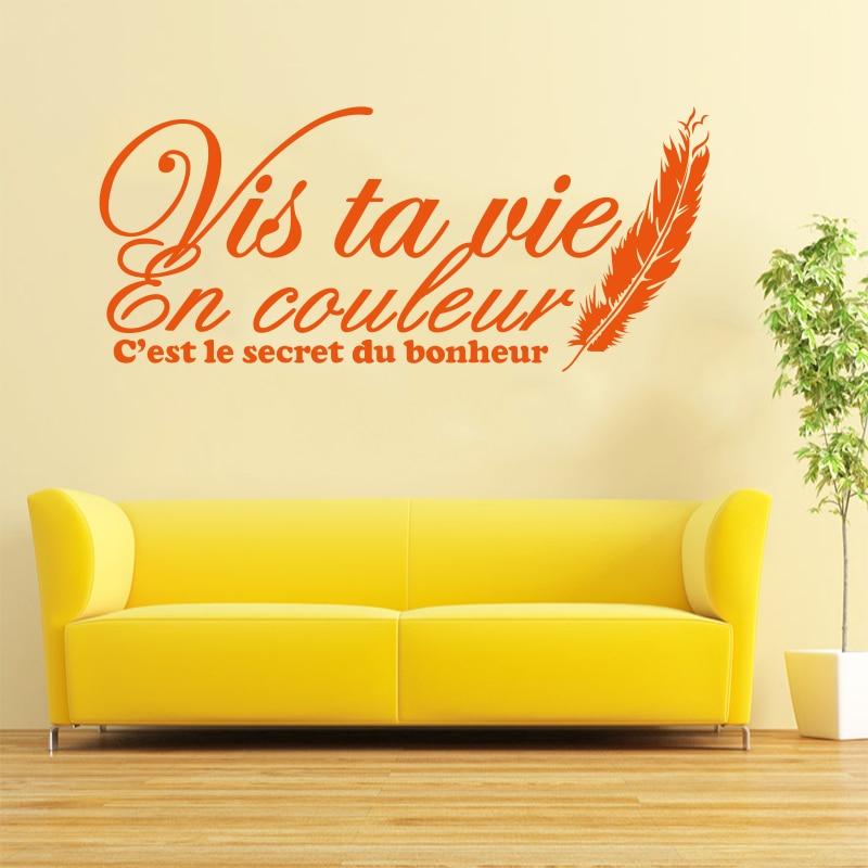Stickers muraux Citation Française Vis Ta Vie En Couleur Stickers - Décor à la maison - Photo 4