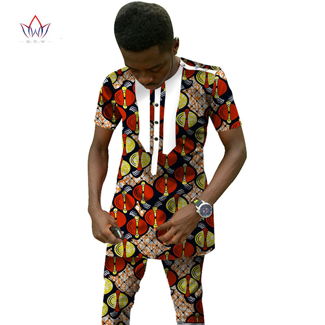 Traditional African Clothing Men's Set Short Sleeve Wax Tops & Dashiki Pants Ankara Fashions Africa Clothing Plus Size 6XL WYN25