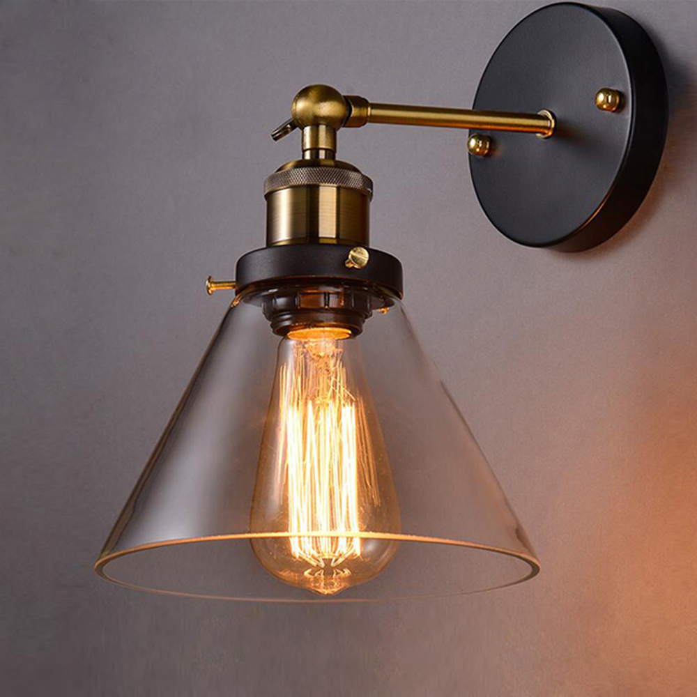 Modern Glass Wall Lamp Dining Living Room Wall Sconce Russia Bedside Lights With Clear Glass Lampshade And Copper Metal Parts