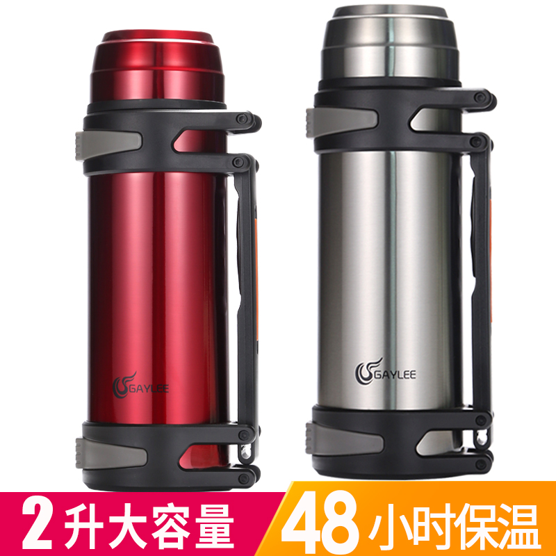 2l Large Capacity Thermos Portable Single Hole Mug Male Stainless Steel Thermos Soup Hot Water Outdoor