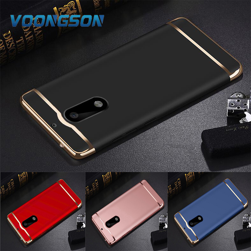 for Nokia 6 Phone Cases Luxury Rose Gold Removable 3 in 1 Hard Plastic Case For Nokia6 case cover PC Plating Matte Cover