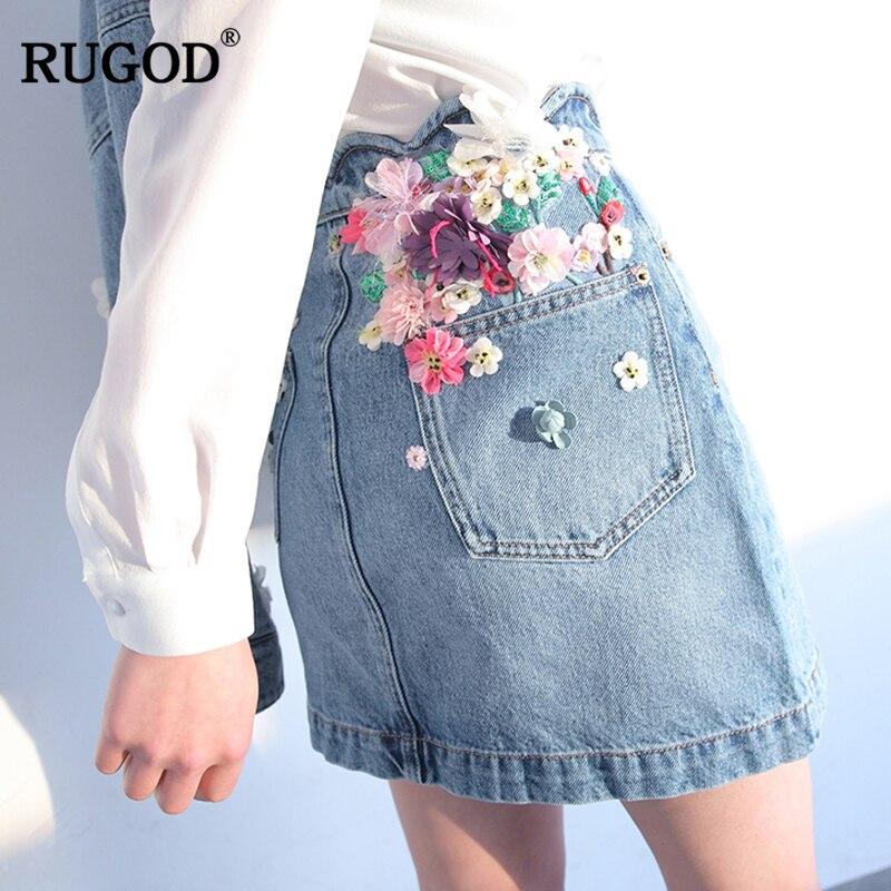 RUGOD جديد أنيق المرأة الدنيم تنورة 2019 الربيع الصيف يزين زهرة الإناث تنّورة مجسّمة ضوء الأزرق فوق الركبة faldas موهير-في تنورة من ملابس نسائية على  مجموعة 1