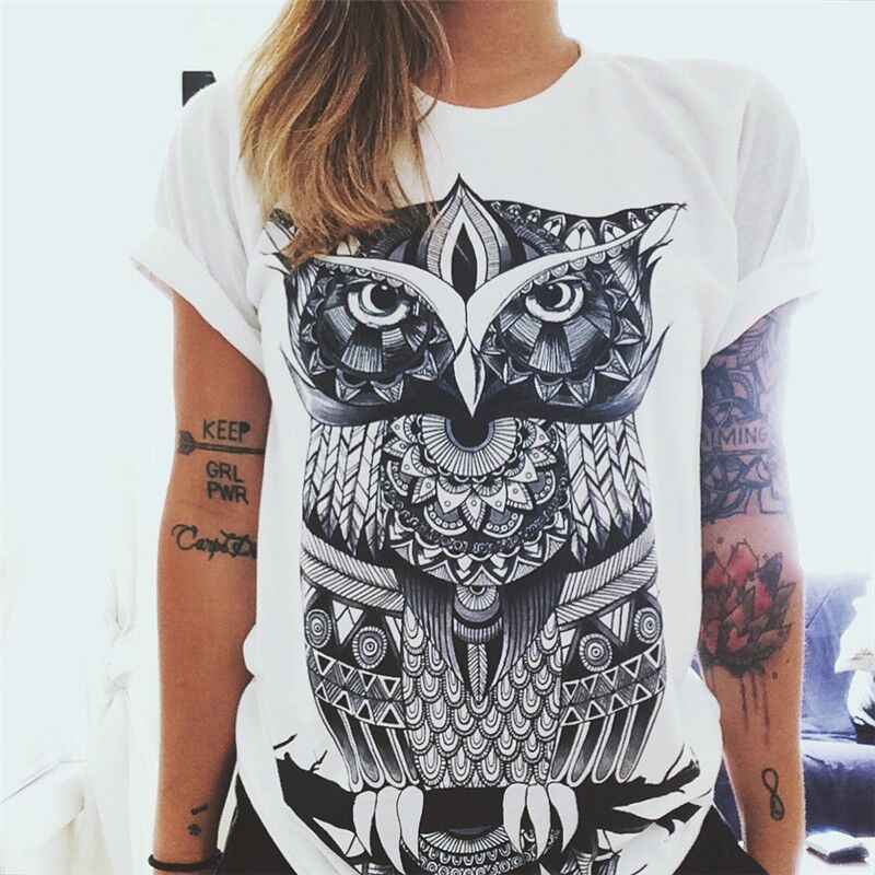 Plus Size 2019 Summer Top 3D Print India Totem T-shirts White Sunflower Printed Cotton O-neck Women Tops Flower Tees Punk Shirt