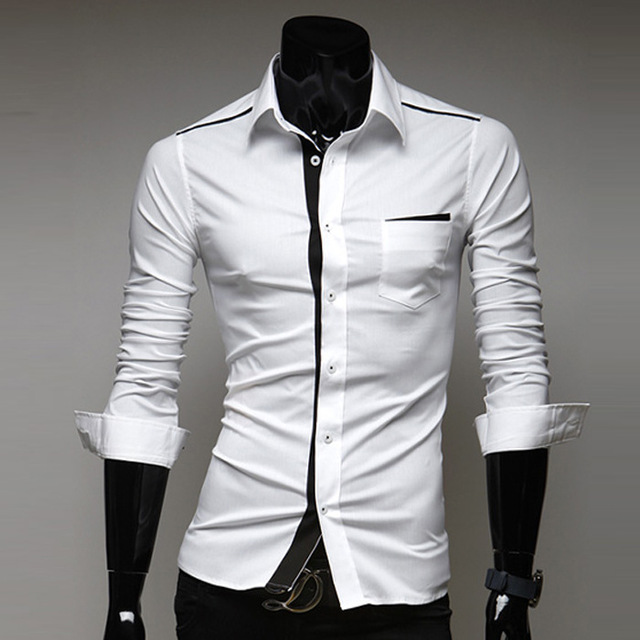 Casual Wit Overhemd.Men Shirt With Long Sleeves Regular Camisa Slim Fit Shirt Black And