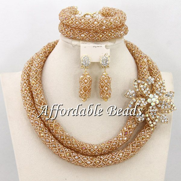 Hesiod Indian Wedding Jewelry Sets Gold Color Full Crystal: Glamorous Wedding Sets Fashion Jewelry New Arrival Indian