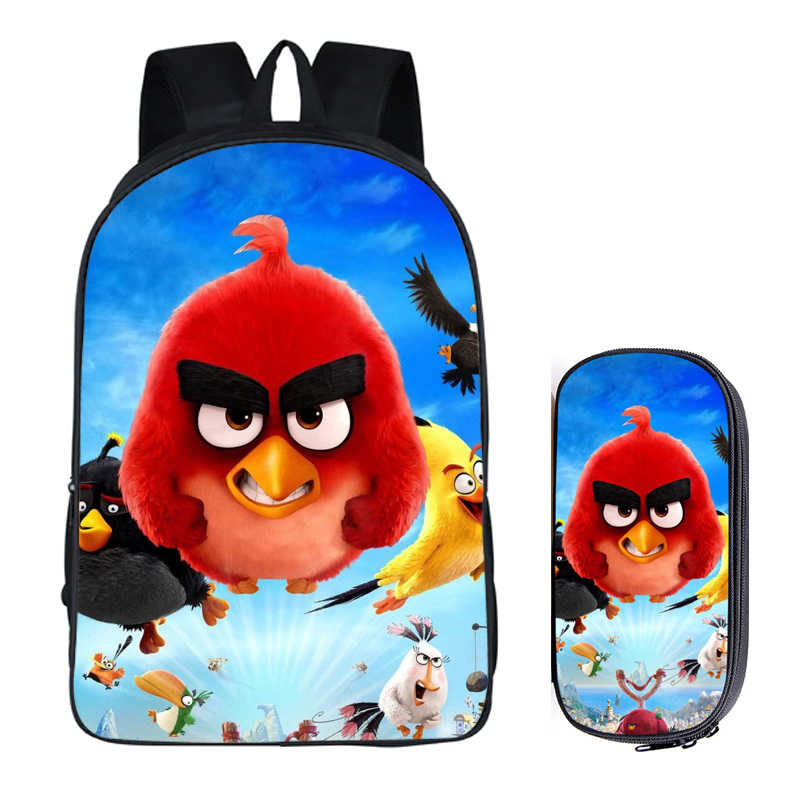 80bff3482637 Japanese Anime Angry Bird 2PC Set with Pencil Case Student Backpacks DIY  Printing Cool School Bags