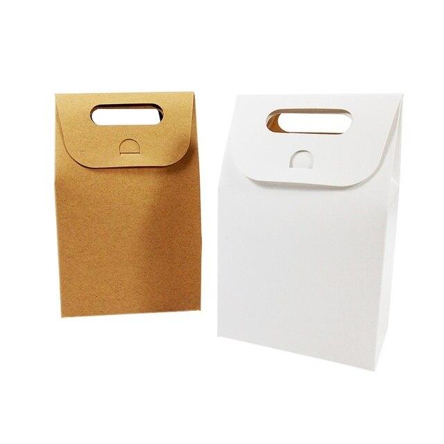 50 יח\חבילה קינוח אריזת תיבת חתונה חום & לבן קראפט שקית נייר ריק יום הולדת מתנת קופסות ממתקי שקיות עוגת המפלגה ספקי