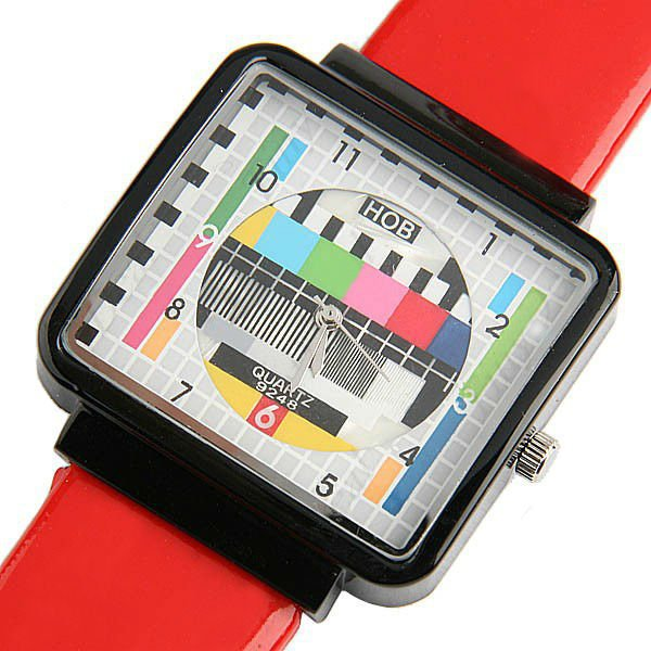 Fashion Womage Tv Panel Machine Rectangle Watch Popular Lady Men Women Leather Student Watches Lovers Christmas Gift Wristwatch