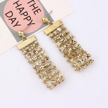 Nowe przesadzone siatki złota srebrne cekiny długi spadek kolczyki dla kobiet Tassel Dangle długie biżuteria kolczyki w stylu statement hurtownie