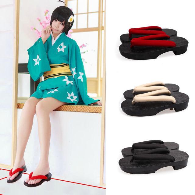 Universal de Las Mujeres Kimono Japonés Geta Clog Plana Flip-flop Zapatilla De Madera Cosplay