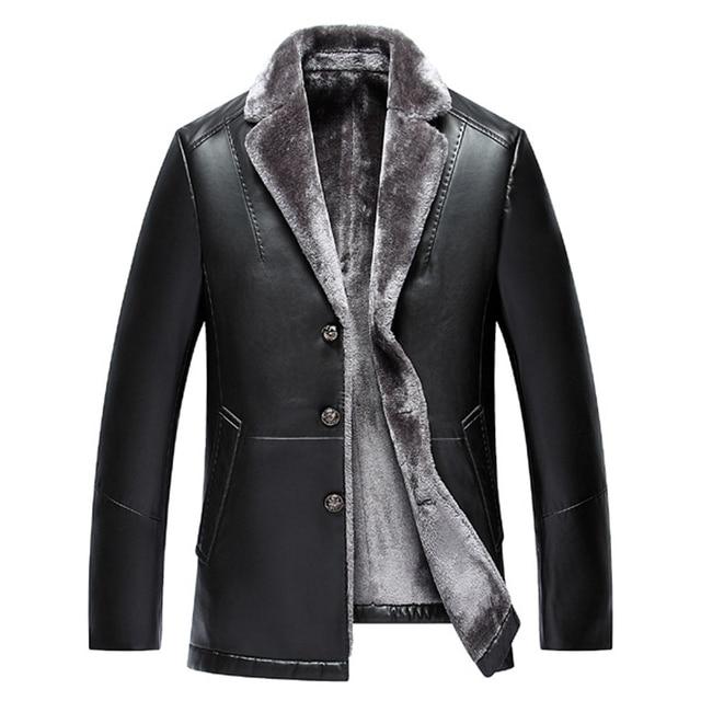 Среднего возраста кожа высокого качества пиджак папа пальто turn down блейзер воротник кожаное пальто мужские толстый бархат меховые куртки