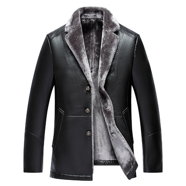 Middle-aged high quality leather suit jacket daddy coat turn down blazer collar leather coat men's velvet thick fur jackets