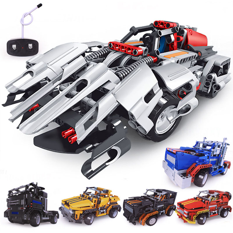 Building Block Filled with Electric Remote Control Toy Assemble Building Block Car Children Puzzle Insert DIY RC Car Toy blocade ru bun lock children puzzle toy building blocks