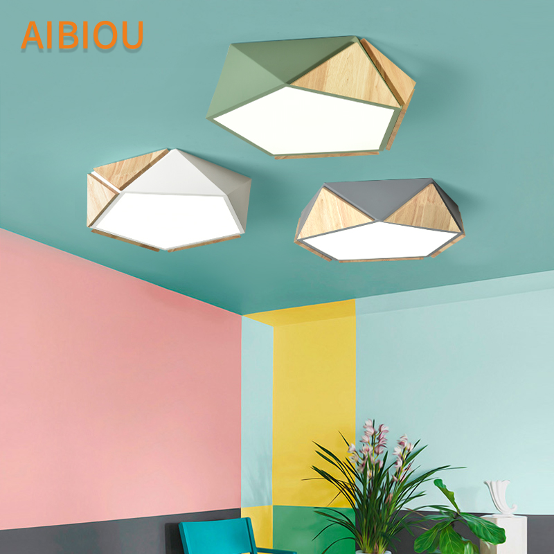 AIBIOU New Arrival LED <font><b>Ceiling</b></font> Lights <font><b>For</b></font> Living Room Matal Frame <font><b>Ceiling</b></font> Lamp Surface Mounted Luminaire Wooden Bedroom Light image