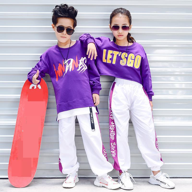 Girls Boys Ballroom Dancing Costumes For Kids Loose T Shirt Tops Jogger Pants Jazz Hip Hop Dance Clothes Child Stage Dancer Wear