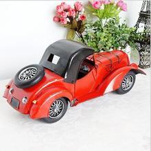 Red vintage classic car model metal adornment handicrafts store cabinet decorative ornament souvenir 34.5 * 13.5 * 16cm