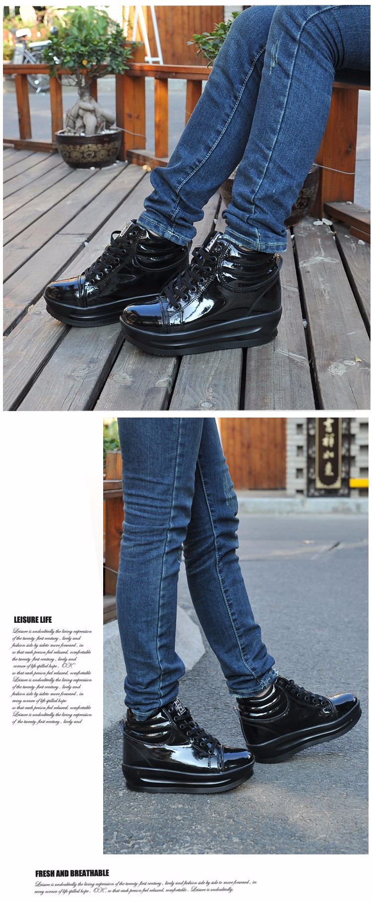 KUYUPP 2016 Fashion Hide Heel Women Casual Shoes Breathable Flat Platform Casual Women Shoes Patent Leather High Top Shoes YD105 (8)