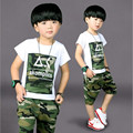 2017 New Arrive Summer Children Boys Clothes Set Fashion Camouflage Kids Clothes O-Neck Short T-shit +Shorts For 3-8Y
