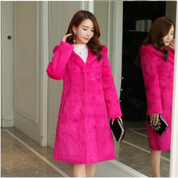 90 cm Long Plus Size S - 8XL Hooded Natural Rabbit Fur Coats Outerwear Women Real Fur Jackets 2019 Autumn Winter New wsr430