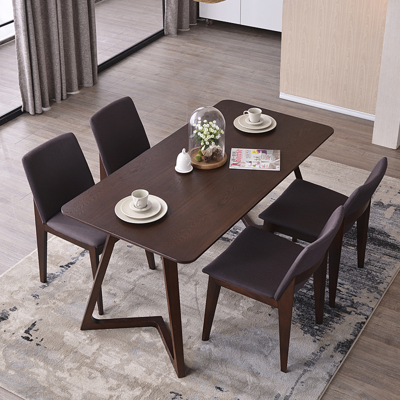 Nordic Wood Tables 6 Person Dinette Table And Four Chairs Combination Ikea Desk Designer Model Room Furniture In Dining From On