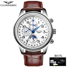 GUANQIN Automatic Mechanical Men Watches Top Brand Luxury Male Clock Waterproof Calendar Leather Wristwatch Relogio Masculino все цены