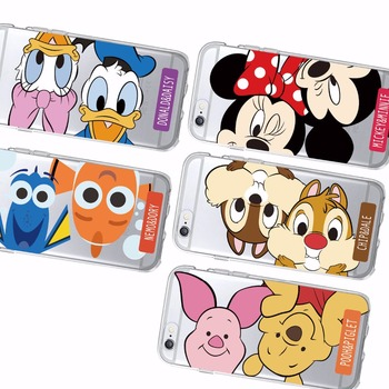 Cute Memo Dory Donald Daisy Duck Pooh Piglet Chip Dale Mickey Minnie Mous Soft Phone Case For iPhone 6 6S 6Plus 7 7Plus SAMSUNG rysunek kolorowy motyle