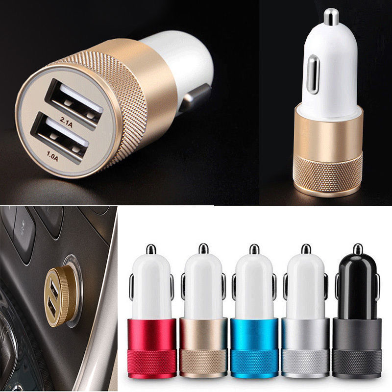 Double USB Car Charger Charging Metal Flat